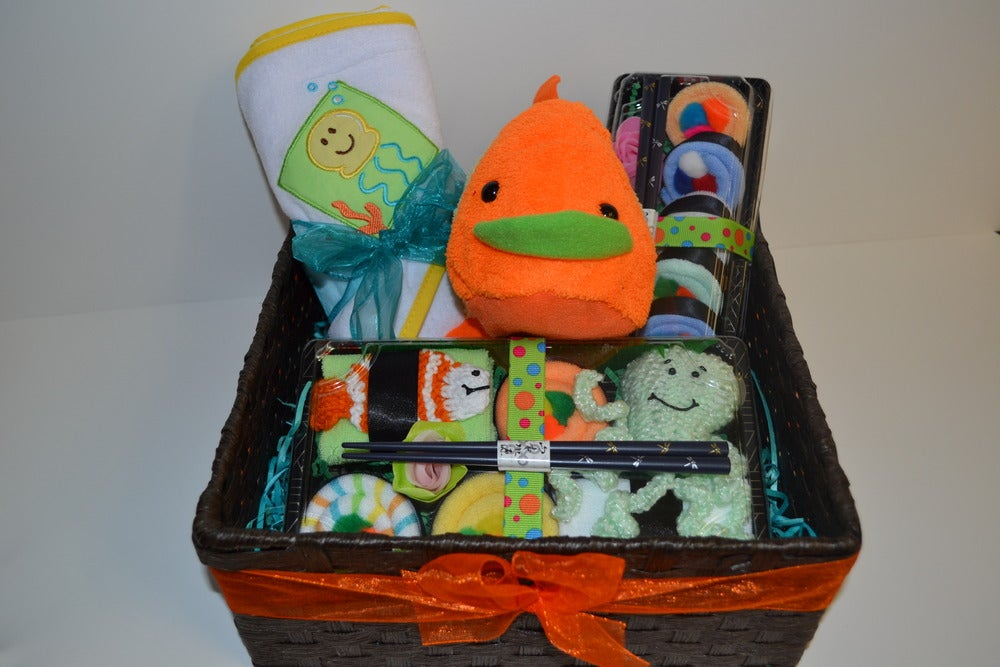 Image of Deluxe Sushi Baby Gift Basket - Baby Shower Centerpiece - Neutral
