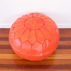 Image of Orange Leather Moroccan Ottoman