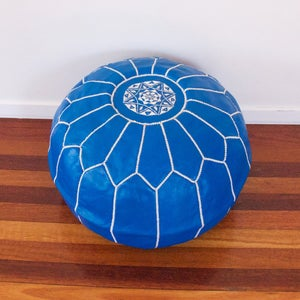 Image of Blue Moroccan Leather Ottoman