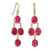 Image of  Kara Ackerman <i> Judie <i/> Oval Faceted Ruby 4 Drop Earring