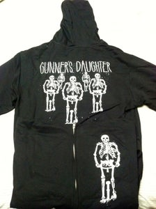Image of Skeletons Zip-up Black Hoodie