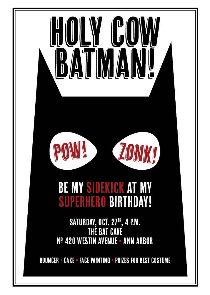 Image of Batman and Superhero Invitation
