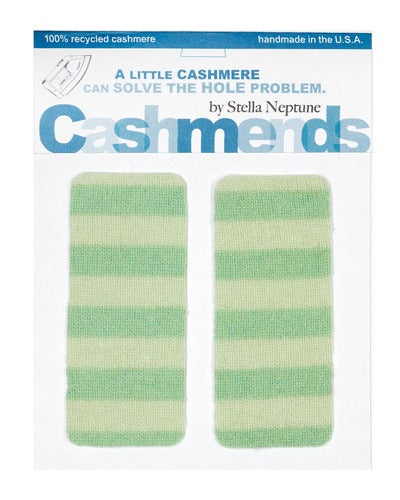 Image of Iron-On Cashmere Elbow Patches - Green Stripes - Limited Edition!