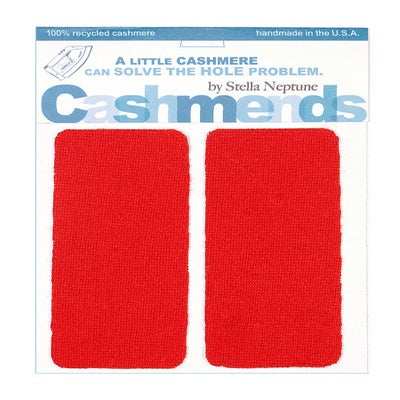 Image of Iron-On Cashmere Elbow Patches - TOMATO RED