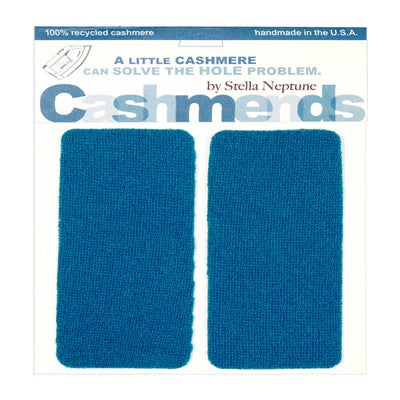 Image of Iron-On Cashmere Elbow Patches - DARK TURQOISE