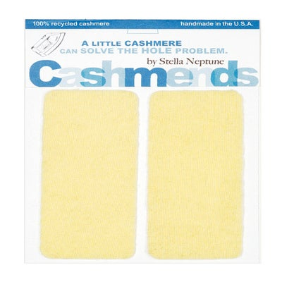 Image of Iron-On Cashmere Elbow Patches - PALE YELLOW