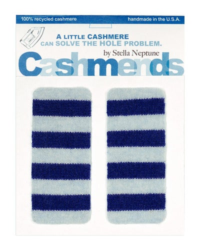 Image of Iron-On Cashmere Elbow Patches - LIGHT BLUE/ DARK BLUE - Limited Edition!