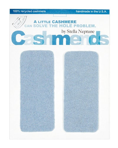 Image of Iron-On Cashmere Elbow Patches - CORNFLOWER BLUE