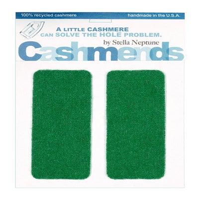 Image of Iron-On Cashmere Elbow Patches - KELLEY GREEN