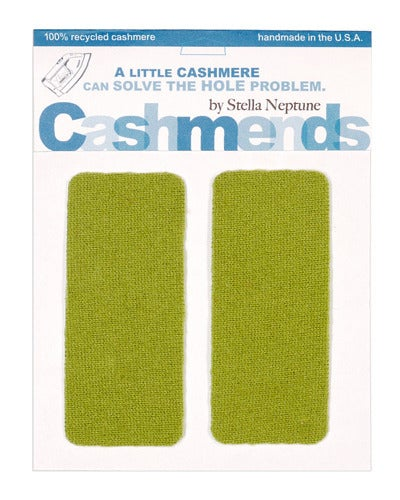 Image of    Iron-On Cashmere Elbow Patches - BRIGHT OLIVE