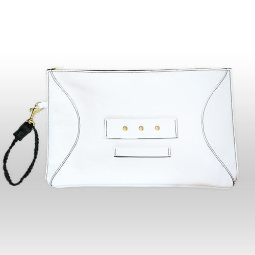Image of Clarisse handmade leather clutch - Bright White