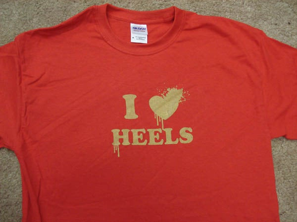 Image of I LOVE HEELS RED GOLD METTALIC INK LIMITED EDITION (Kids & Adult sizes available)
