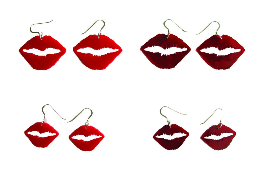 Image of Kiss Earrings (Opaque Red)