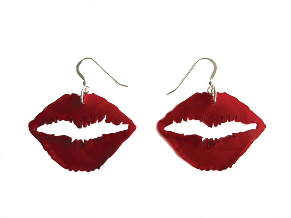 Image of Kiss Earrings (Transparent Red)