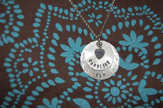 Image of Disc Necklace with Beaded Heart