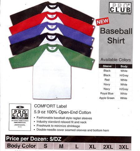 Image of PRO CLUB Baseball Shirt