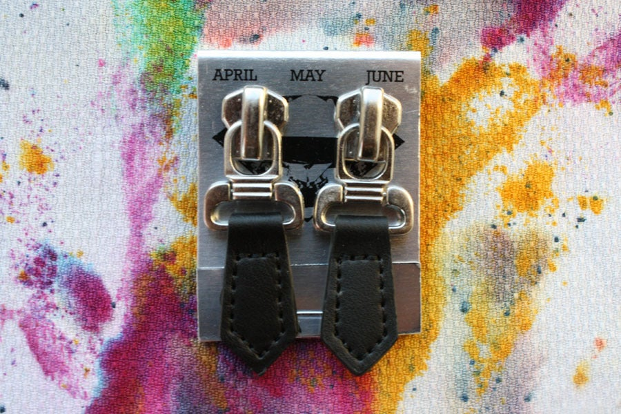 Image of Pointed Leather, Zipper Pull Earrings