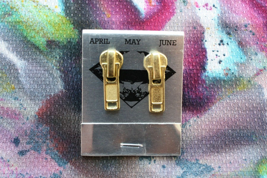 Image of Gold Zippers (Small), Zipper Pull Earrings