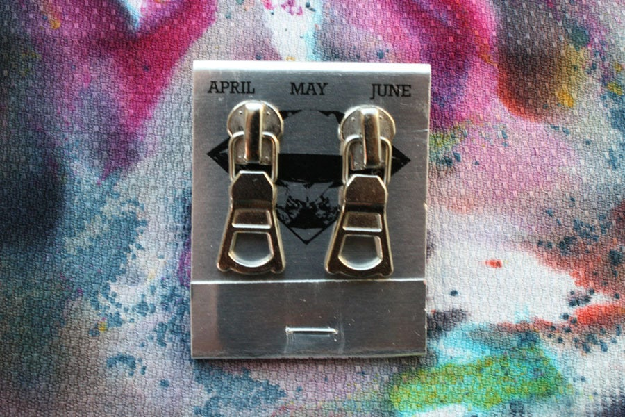 Image of Silver Triangles, Zipper Pull Earrings