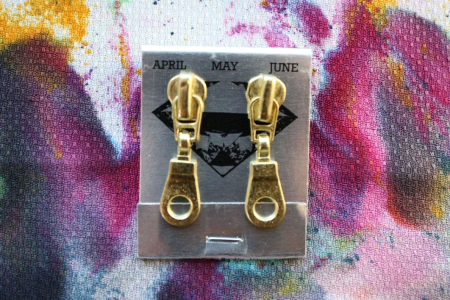 Image of Gold Holes (Small), Zipper Pull Earrings