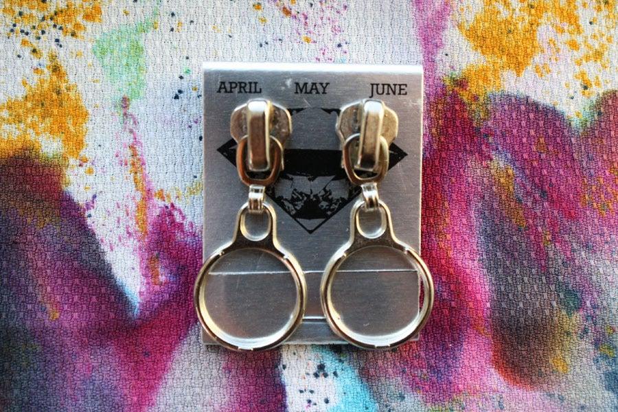 Image of Silver Rings, Zipper Pull Earrings