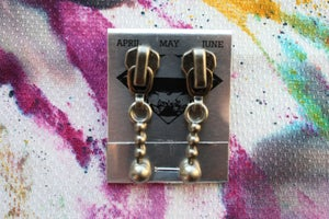 Image of Dark Silver Stacked Spheres, Zipper Pull Earrings