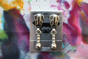 Image of Silver Stacked Spheres, Zipper Pull Earrings