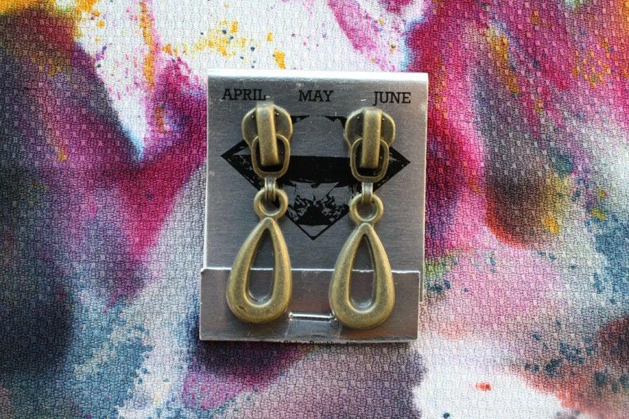 Image of Brass Patina Drops, Zipper Pull Earrings