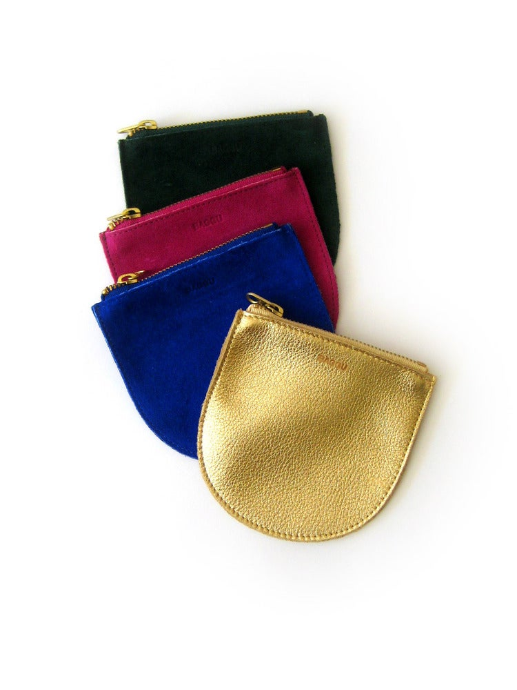 Image of Baggu Small Leather Pouch - Emerald Suede