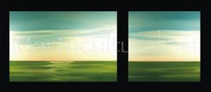 Image of Wildland Sky- Green Original Painting (Diptych)