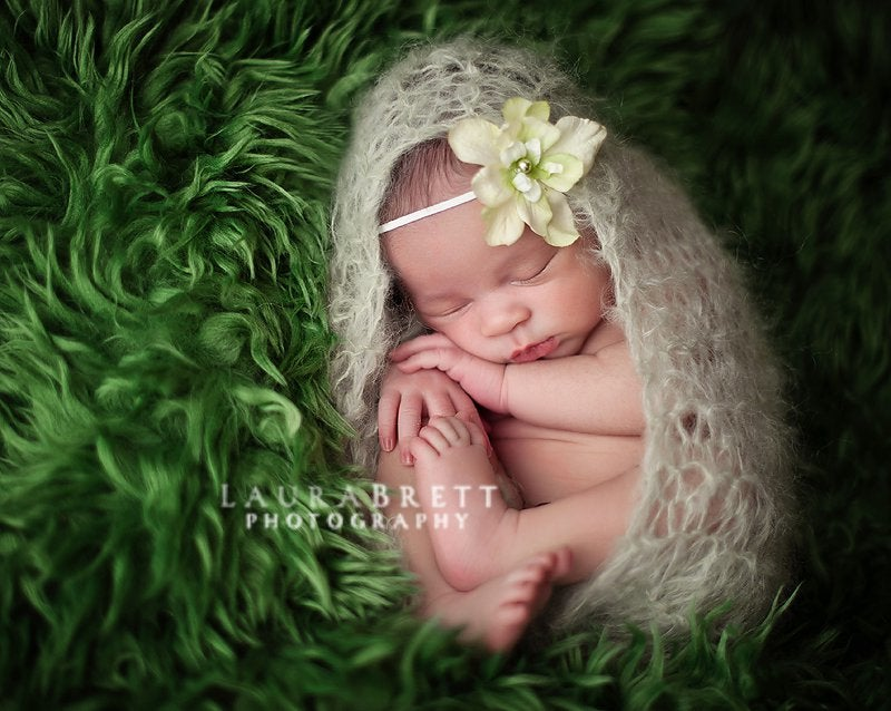 Image of Loose Knit Fluffy Mohair Blanket Wrap in Pale Green