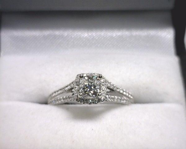 Image of 14K White Gold Diamond Engagement Ring (.50ct Cushion Center)