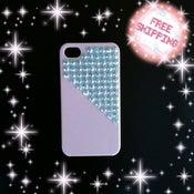 Image of Pyramid blue rhinestones on white iphone 4/ 4s case