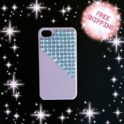Image of Pyramid blue rhinestones on white iphone 4/ 4s case