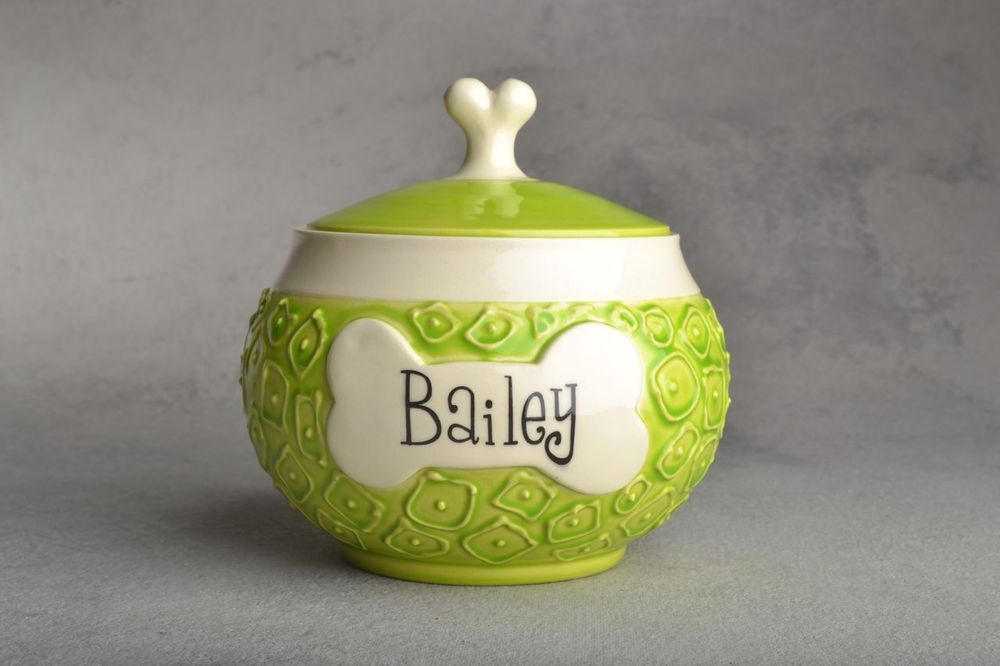 "Image of Dog Treat Jar Hip To Be Squares ""Bailey"""