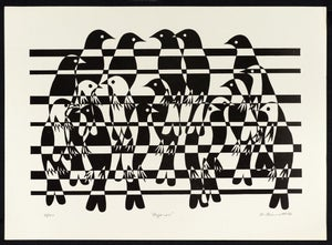 "Image of ""Pajaros"" - Birds on a Wire Lithograph"