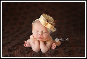 Image of 1960's Organic Acacia Pillbox Hat for Newborn Portraiture