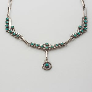 Image of Antique Zuni Turquoise Statement Necklace