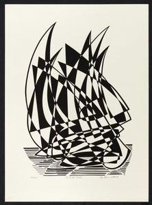 "Image of ""Full Sail"" - Lithograph of Sailboat"