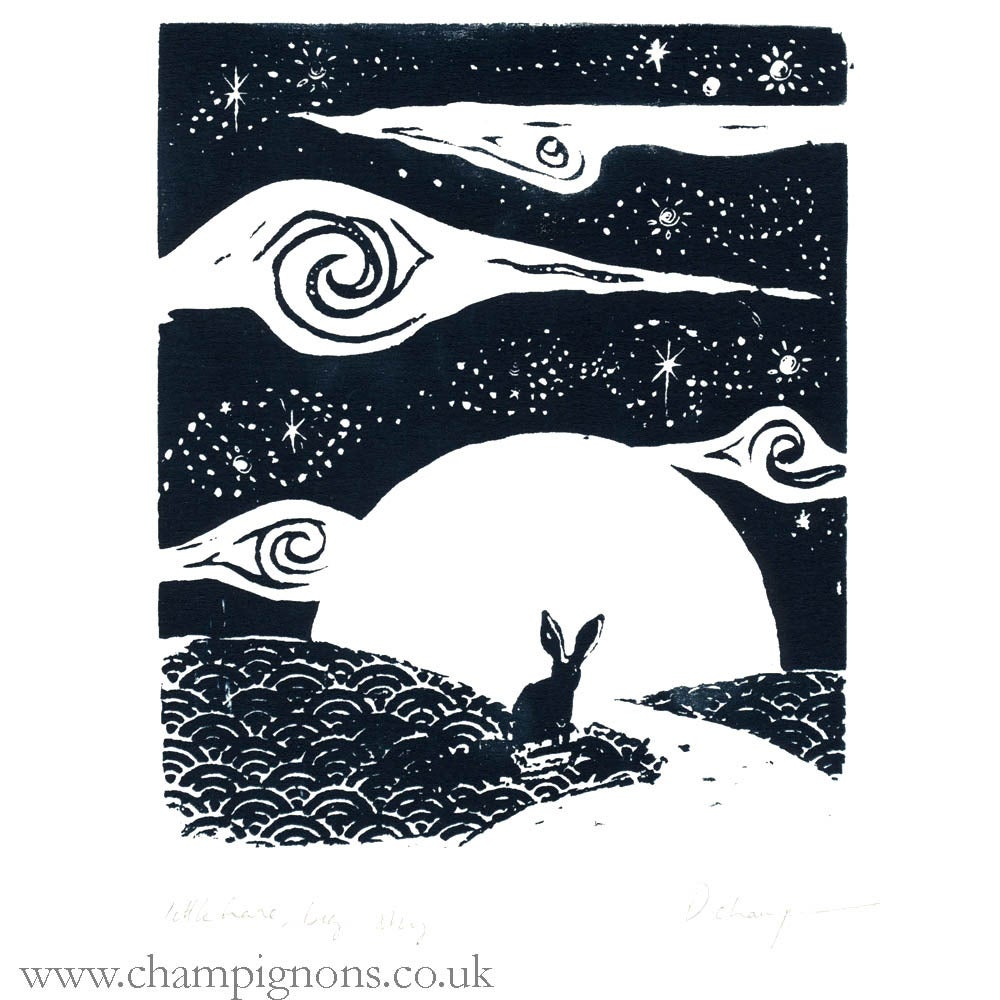 Image of Little Hare, Big Sky. Original Silkscreen Print