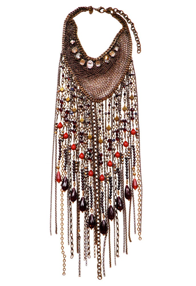 Image of Duquette antique brass toned, crystal, Swarovski crystal, garnet, agate and quartz fringed necklace
