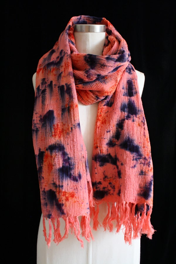 """Image of Handwoven Scarf, Coral """"Mountain Water"""" Pattern"""