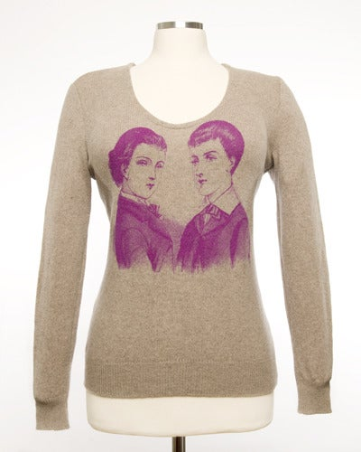 Image of Dandies Womens Cashmere Sweater - Heather Brown