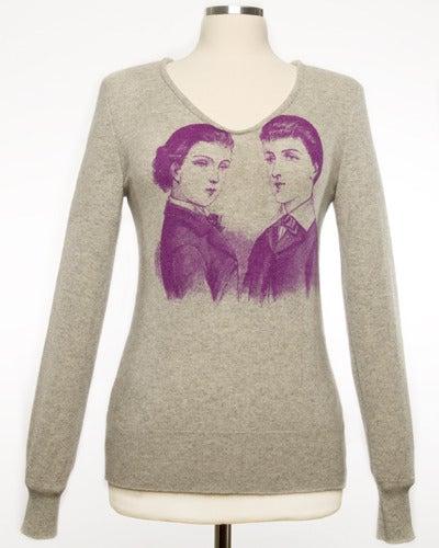 "Image of ""Dandies"" Womens Cashmere Sweater - Light Grey"