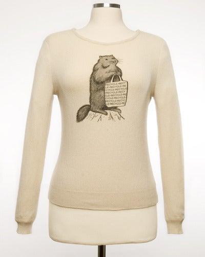 "Image of ""Mr. Chuck"" Womens Cashmere Sweater - Cream"