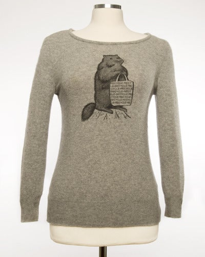 "Image of ""Mr. Chuck"" Womens Cashmere Sweater -Grey"