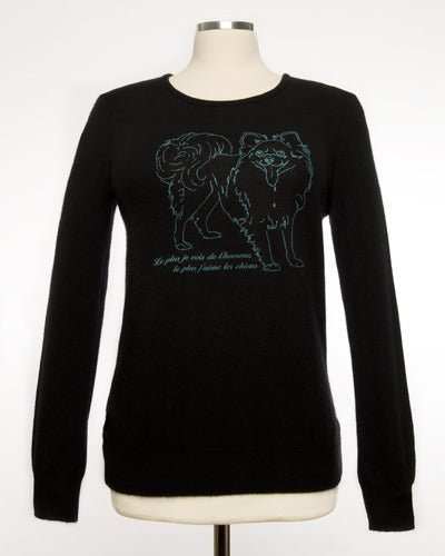 Image of Sassy French Doggie Womens Cashmere Sweater  Black