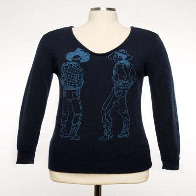 "Image of ""Straight Shooters"" Womens Cashmere Sweater - Navy"