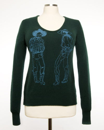 """Image of """"Straight Shooters"""" Womens Cashmere Sweater - Forest Green"""