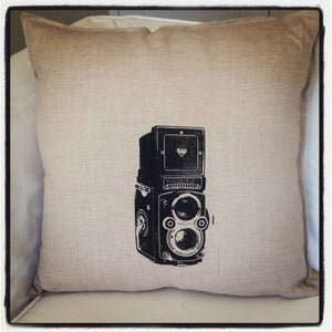 Image of Linen Pillow - Retro Camera